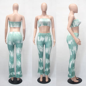 Tie Dye Flare Pants Bra Crop Top - My Lifestyle Stores