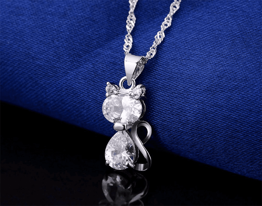 Cute Cat Pendants Necklace - 1.8 Carat Austrian Cubic Zirconia - My Lifestyle Stores
