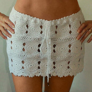 Hand Crochet Dropped Waist Pencil Miniskirt - My Lifestyle Stores