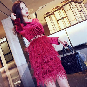 Cross V-Neck Retro Feather Dress - My Lifestyle Stores