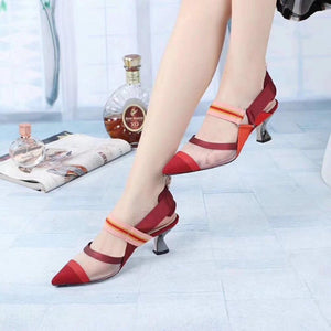 Mesh Patchwork Stripes Strappy Sandals - My Lifestyle Stores
