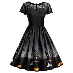 Halloween Retro A Line Lace Dress - My Lifestyle Stores