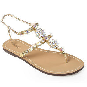 Rhinestones Crystal Chains Thong Gladiator Flat Shoes - My Lifestyle Stores