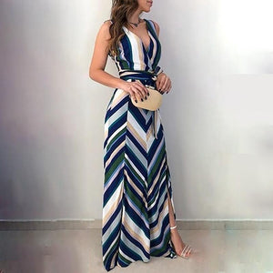 Chevron Stripes Backless Side Slit Maxi - My Lifestyle Stores