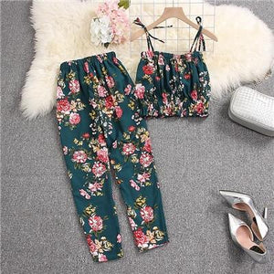 Ruched Floral Sling Crop Top with Pants - My Lifestyle Stores