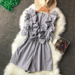 High Waist Ruffled V-Collar Striped Cute Playsuits - My Lifestyle Stores