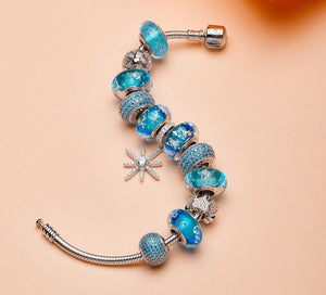 Blue Snowflake Pendant With Heart Charms Bracelet | 925 Silver Sterling - My Lifestyle Stores