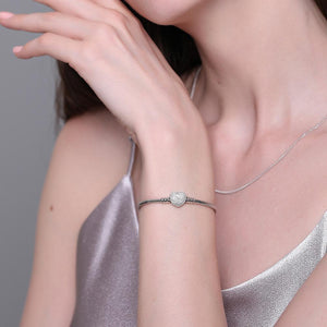 Silver Snake Chain With Pave Clear CZ Heart Clasp Bracelet | 925 Sterling - My Lifestyle Stores