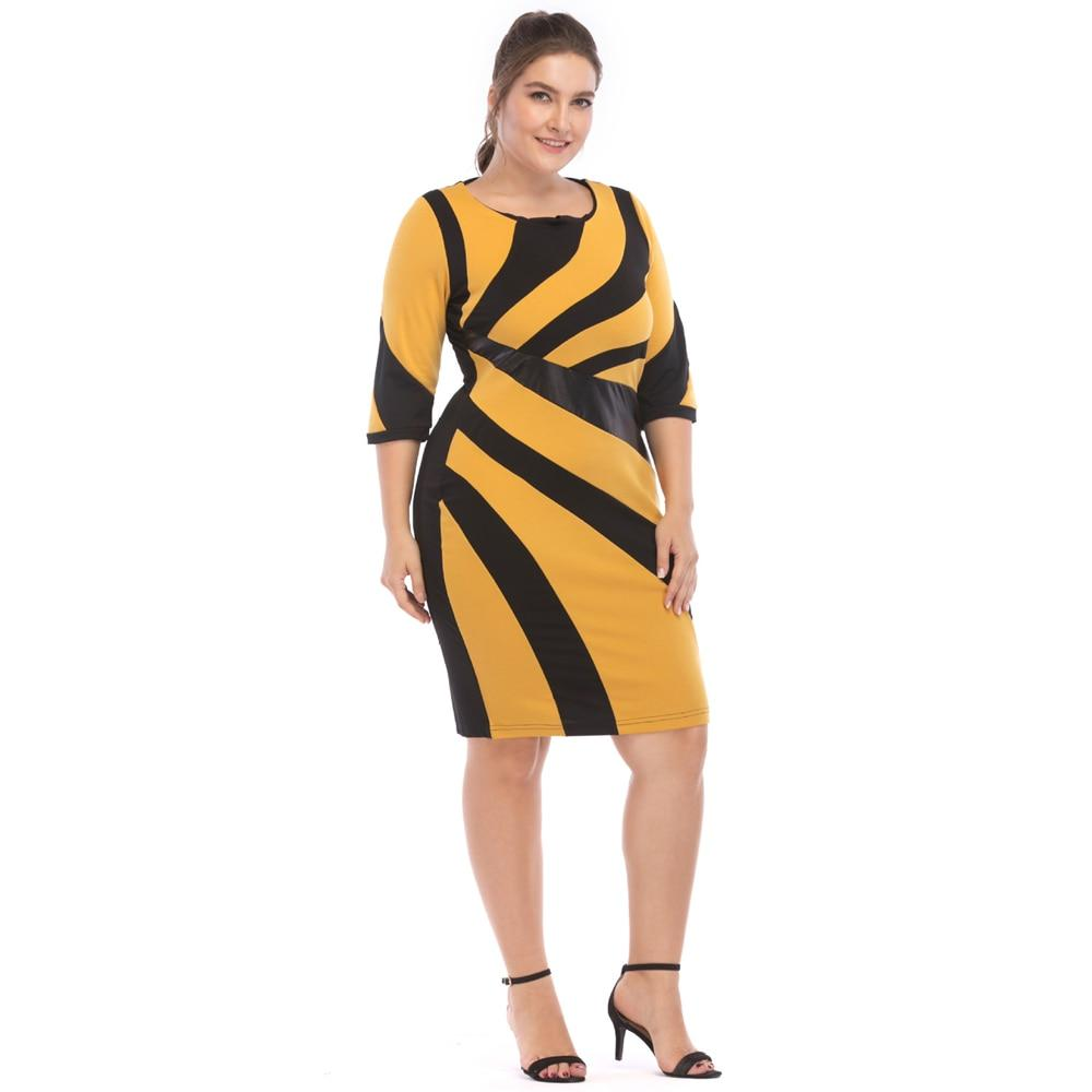 Irregular PU Leather Contrast Stitching Bodycon Dress | Plus Size - My Lifestyle Stores