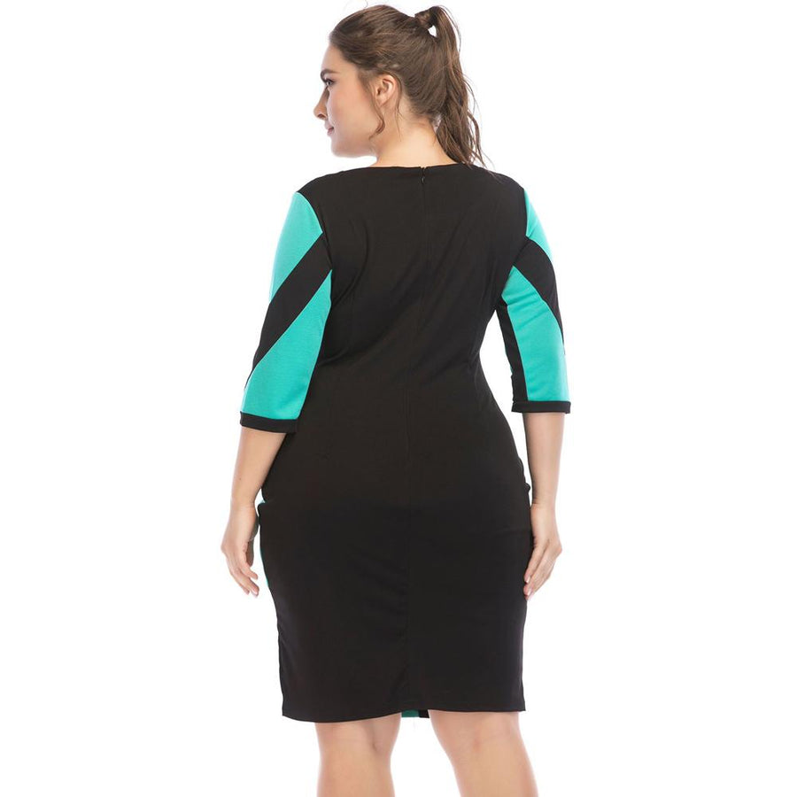 Irregular PU Leather Contrast Stitching Bodycon Dress | Plus Size