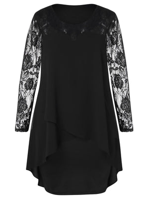 Sheer Lace Sleeve Asymmetrical Dress | Plus Size Clothing - My Lifestyle Stores