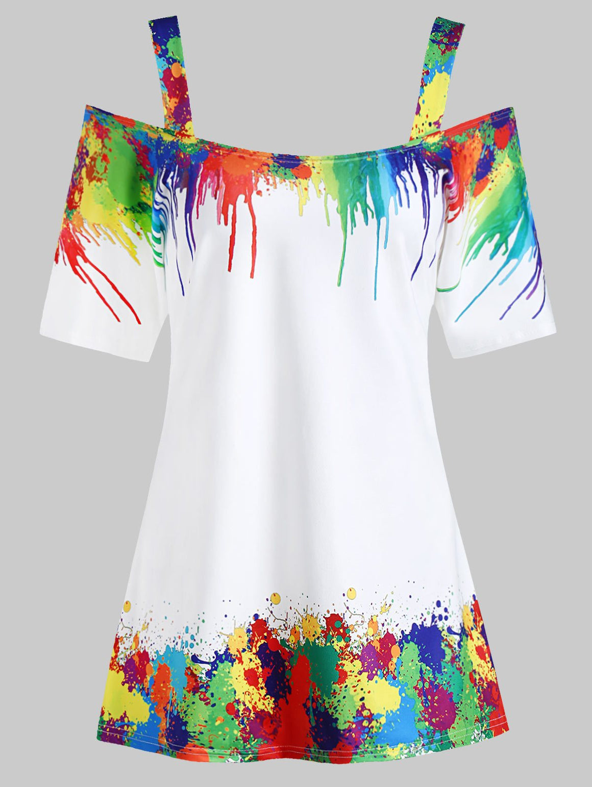 Plus Size Tie Dye Cold Shoulder Top