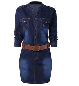 Stand Collar Long Sleeve Bodycon Jean Dress | Plus Size - My Lifestyle Stores