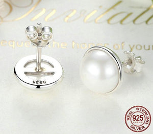 Round White Pearl Stud | 925 Sterling Silver - My Lifestyle Stores