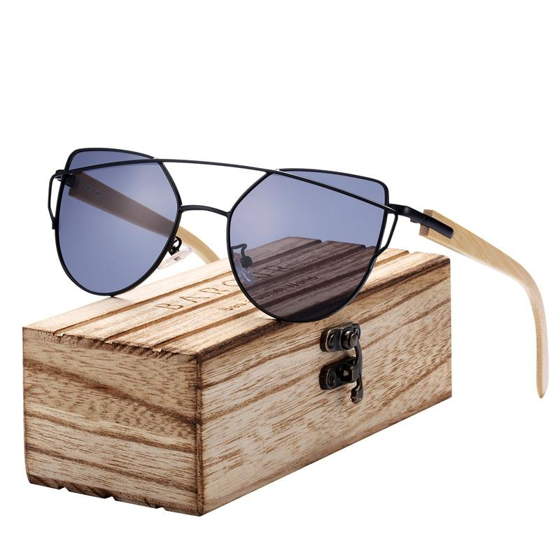 Bamboo Polarized Cat Eye Sunglasses with Metal Frame