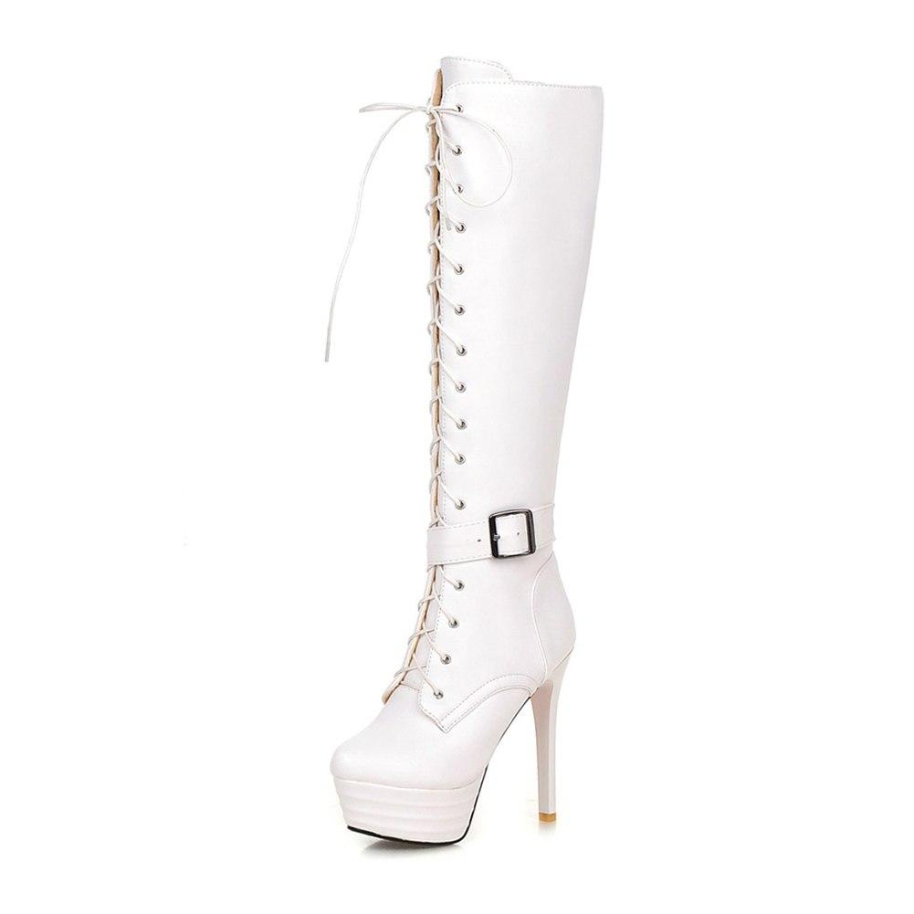 Lace Up Super Thin High Heels knee-high Zip Boots - White Plus Size - My Lifestyle Stores