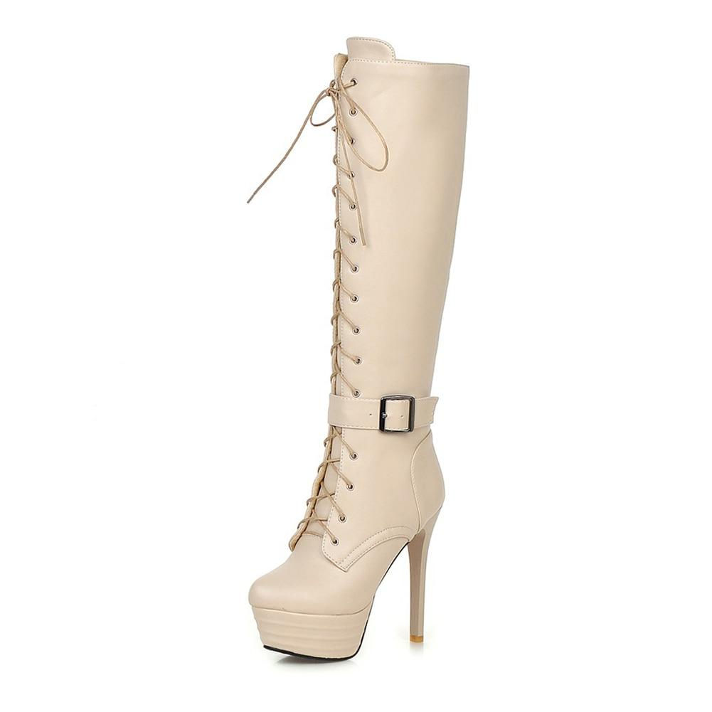 Lace Up Super Thin High Heels knee-high Zip Boots - My Lifestyle Stores