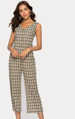 Elegant V Back Plaid Jumpsuit - My Lifestyle Stores