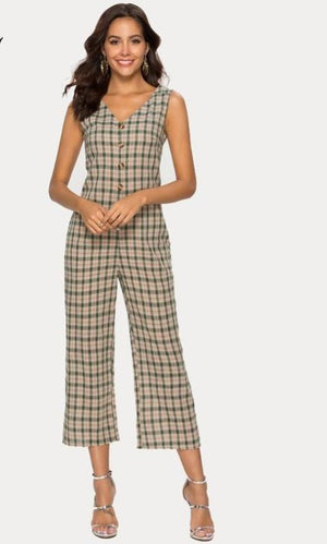 Elegant V Back Plaid Jumpsuit