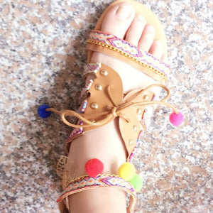 Boho Faux Leather Colorful printed Ethnic Sandals - My Lifestyle Stores