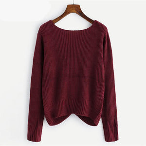 V Neck Twist Front Chunky Casual Sweater - Crop Pullovers Jumper - My Lifestyle Stores