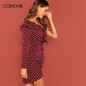 Ruffle Polka Dot One Shoulder Dress - My Lifestyle Stores