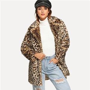 Front Open Leopard Faux Fur Coat - My Lifestyle Stores