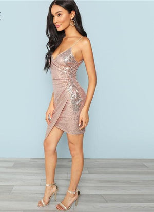 V Neck Strapped Sequin Party Dress - My Lifestyle Stores