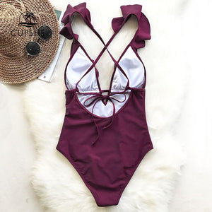 Ruffle V-neck One Piece Monokini - My Lifestyle Stores