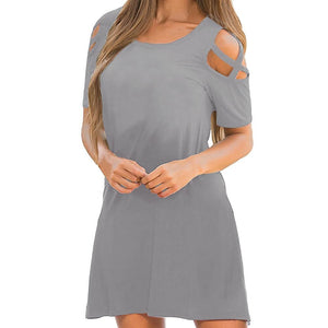 Plus size Cross Short Sleeve Dress - My Lifestyle Stores