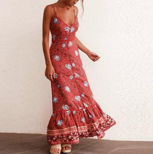 High Waist Floral Print Long Dress - My Lifestyle Stores