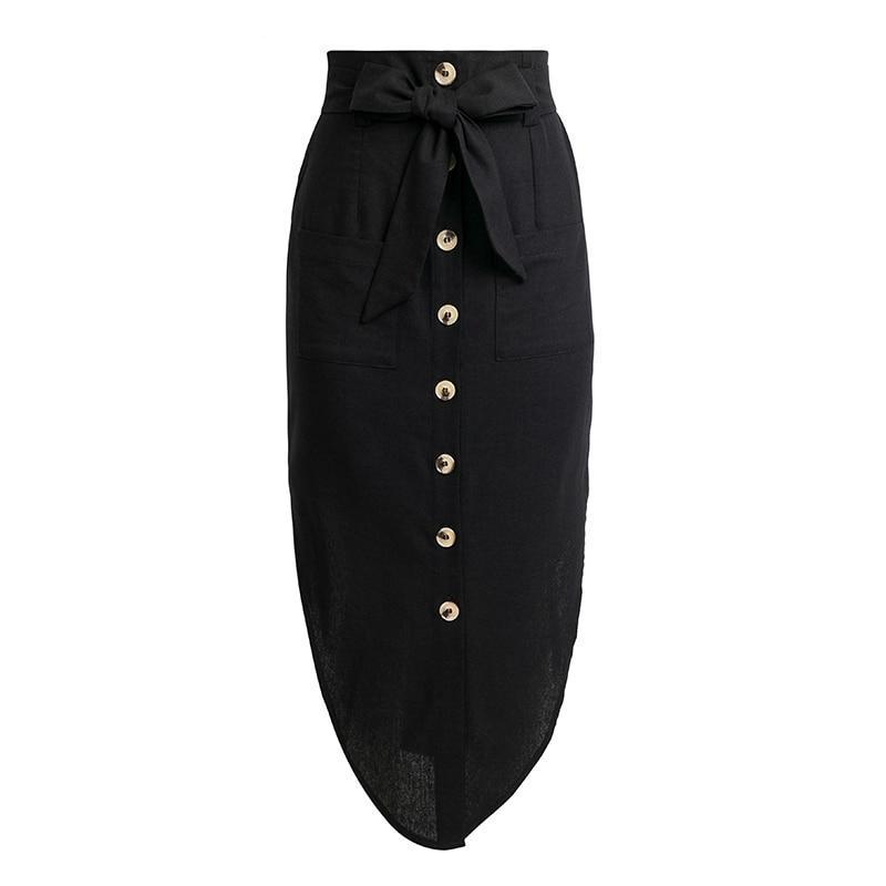 High Waist Bow Belted Skirts
