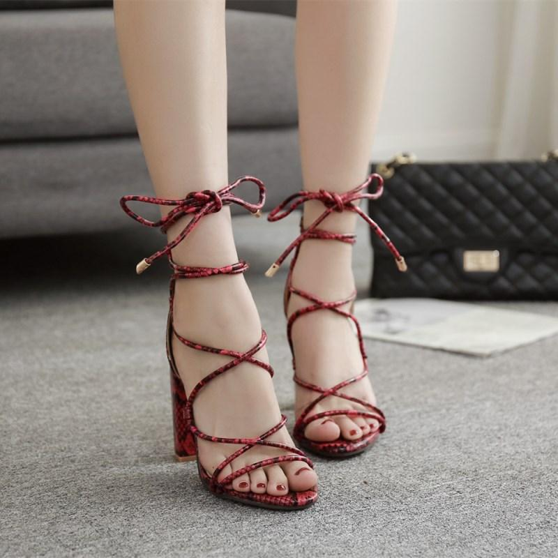 Lace Up Block Heels Sandals - My Lifestyle Stores