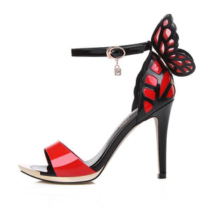 Genuine Leather Thin High Heels Butterfly ankle strap - My Lifestyle Stores