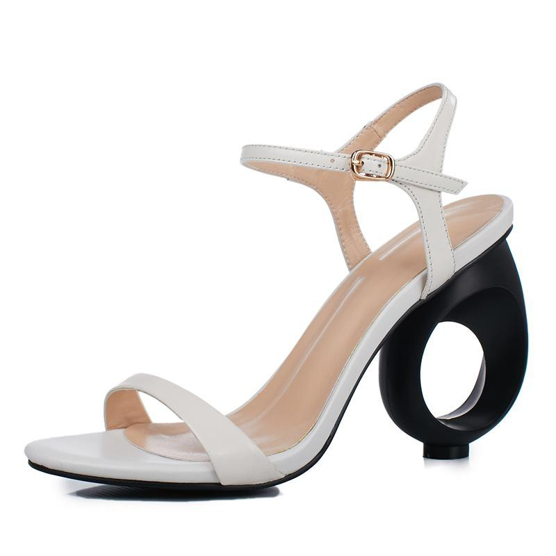 Genuine leather strange high heels ankle strap sandals - My Lifestyle Stores
