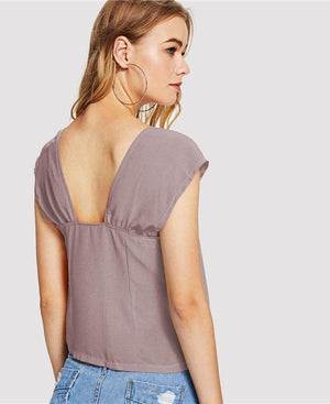 Square Neck Pink Plain Blouse - My Lifestyle Stores