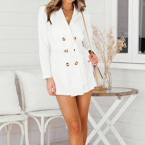 Elegant lace up split blazer dress - My Lifestyle Stores