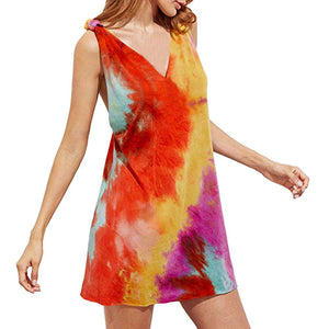 V Neck Tie Dye Tunic Top