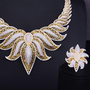 Zirconia Statement Crown Leaves Jewelry Set - My Lifestyle Stores