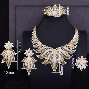 Zirconia Statement Crown Leaves Jewelry Set