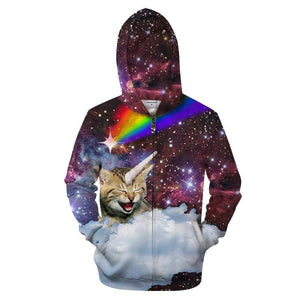 Galaxy Cat Zipper Hoodie - My Lifestyle Stores