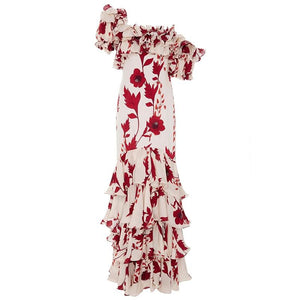 One-shoulder Floral Cascading Ruffle Long Dress - My Lifestyle Stores