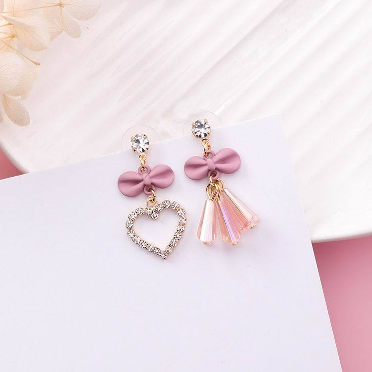 Cute Sweet Bowknot Rhinestone Love Heart Earrings - My Lifestyle Stores