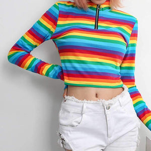Vintage Ring Zipper Striped Knitted T-shirt - My Lifestyle Stores