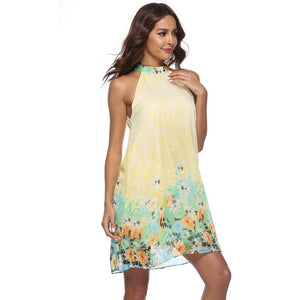Chiffon Retro style hanging neck halter mini dress - My Lifestyle Stores