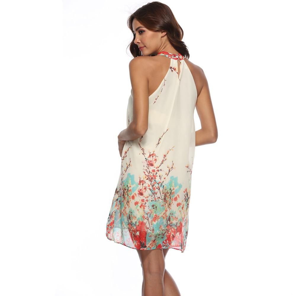acea10496 Retro Chinese style hanging neck backless mini dress - My Lifestyle Stores
