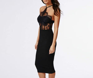 Black Lace Halter Dress - My Lifestyle Stores