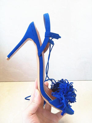 Fringed Strap Tassel High Heels - My Lifestyle Stores