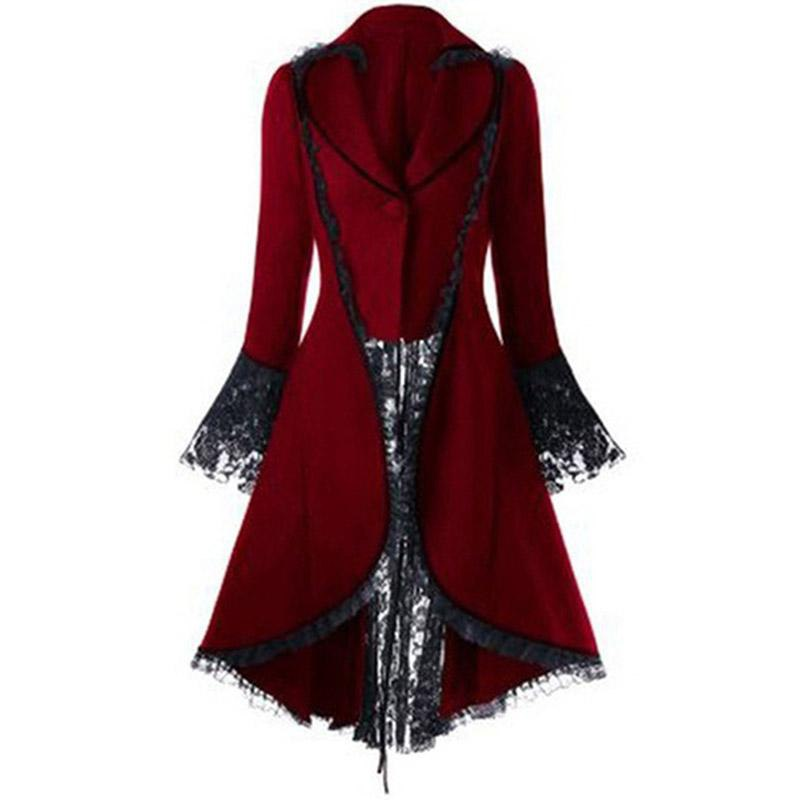 Gothic Lace Panel Lace Up High Low Long Top Winter Coat Women - My Lifestyle Stores