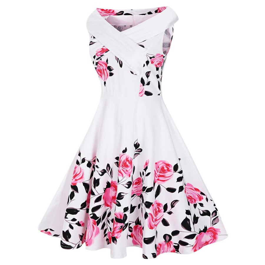 Plus Size Criss Cross Floral Print Vintage Dress - My Lifestyle Stores
